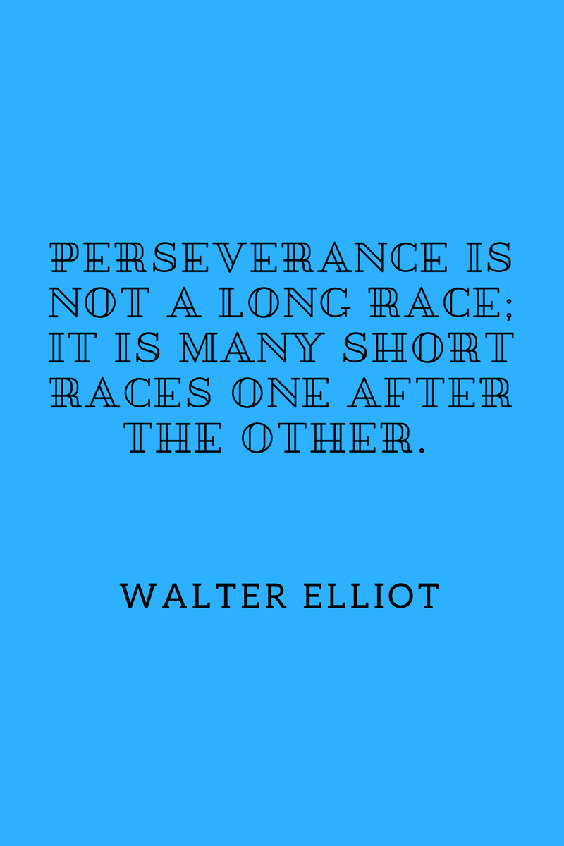 , Perseverance is not a long race; it is many short races one after the other. Walter Elliot, Blockchain Adviser for Inter-Governmental Organisation | Book Author | Investor | Board Member