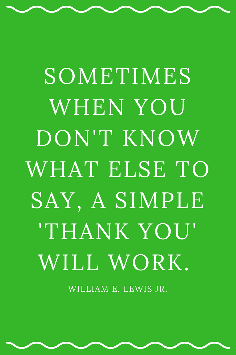 , Sometimes when you don't know what else to say, a simple 'thank you' will work. William E. Lewis Jr., Blockchain Adviser for Inter-Governmental Organisation | Book Author | Investor | Board Member